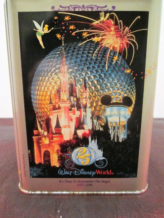 Walt Disney World Vintage Tin - Its Time To Remember The Magic - 25th Anniversary - Nestle Toll House Cookies Tin