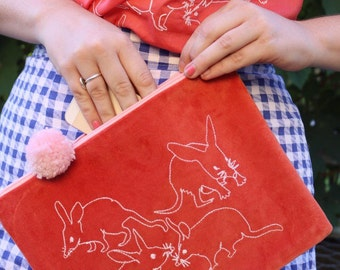 Embroidered Bilby Purse - Handmade by Alice