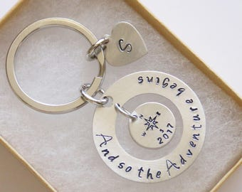 And So The Adventure Begins Keychain, Personalized Graduation, Inspirational Necklace, Compass Keychain, Travel Keychain, 2017 Graduation