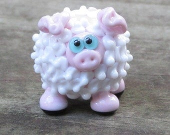 Pig in Sheep's Clothing Lamb Ewe Lampwork Handmade SRA OOAK Glass Bead NLC Beads leteam