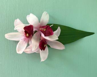 Pink Orchid Hair Flower - Hawaiian Hair Clip - Pinup Flower - Rockabilly Flower - Tropical Hair Clip