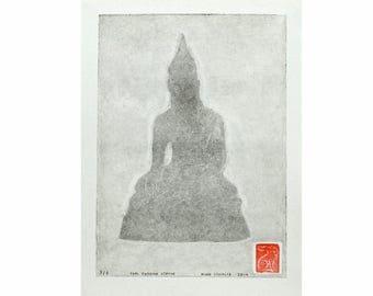 Thai Buddha Statue (Light Gray) - Handmade Monotype Print
