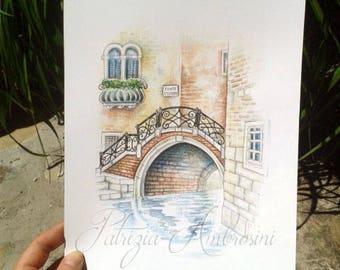 ITALY - Original 8x10, Watercolor, Venezia, venice, pontestorto, Italia, NOT A pRINT, handpainted,italian art, vacanze ,fine art, view,city,