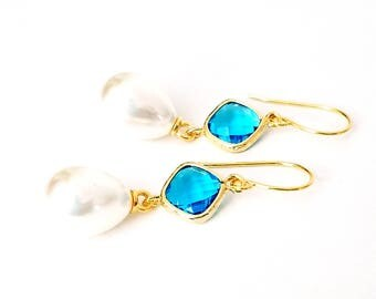 Pearl dangle earrings Blue and pearl earrings Pearl drop earrings Bridal pearl teardrop earrings Pearl earrings Bridesmaid earrings Gift