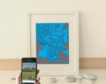 Modern map art - interactive art - personalized graduation gift - NFC map print - custom city, personalized geek anniversary gift, QR