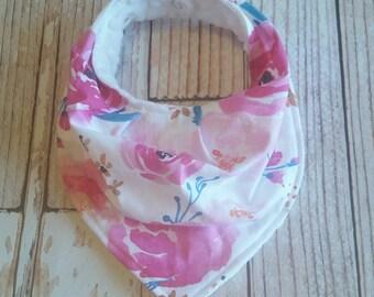 Bandana Bib - Girl Baby Bib - Baby Bib - Pink Baby Bib - Girl Bandana Bib - Watercolor Floral Baby Bib - Drool Bib - Baby Shower Gift