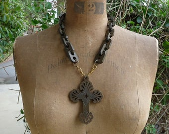 Antique Victorian Mourning Cross Necklace, Gothic Gutta Percha Adornment, by RusticGypsyCreations