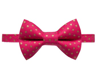 """Cat Collar + Matching Removable Bow Tie - """"The Dazzler"""" -  Pink with Gold Metallic Dot"""