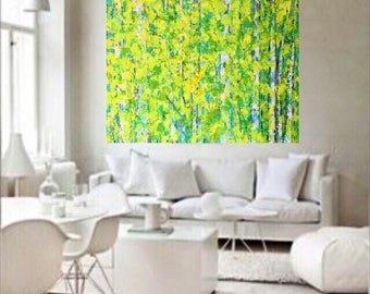 Birch Aspen Trees Extra Large Hugh Original Acrylic Painting 48 x 36 x .75 Gallery Wrapped Canvas Ready to Ships Free
