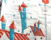 Vintage abric, Turquoise and Orange, Cartoon Style Childrens Fabric, Large Print Designer Decorator Fabric, Prentiss Lane Roof Tops