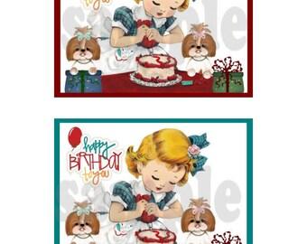 Shih Tzu Birthday notecard for printing digtial, download, printable