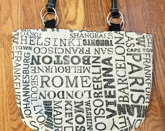 Waverly Destinations Fabric Handbag Black Ecru Travel Famous Cities