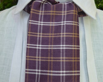 Lilac, white and gold plaid silk cravat, 19th century style