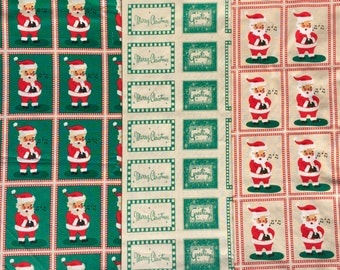 SALE : Cosmo Cricket Dear Mr. Claus Andover fabrics 3 FQ set