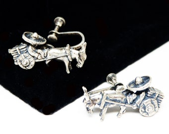Mexican Silver Earrings - Sterling Silver Mexican Man, Cart & Donkey Figural Screw backs - Siesta Time - Vintage 1950's Mexico