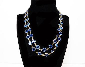 Swarovski Bezel Set Crystal Necklace Royal Blue Faceted Crystals - Crystal Glass Flower Opera length Designer Signed Swarovski Vintage 1980s