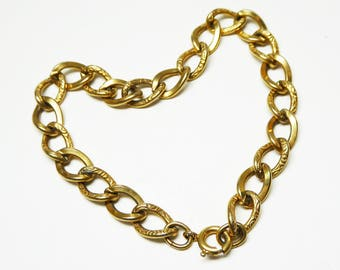 Art Deco Gold Filled Chain Link Bracelet - Signed 1/20th 12K - Decorative Links - Vintage 1930's 1940's Gold Linky Bracelet for Charms