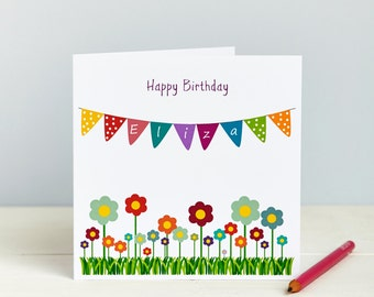Birthday Card - first birthday - girls birthday - bunting birthday - flowers - Happy Birthday - Female Birthday