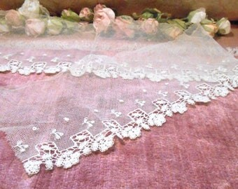 Antique Lace Vintage Tulle Lace Trim Edwardian French Lace