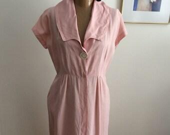 40s-50's Day Dress Pink Shirtwaist Dress Secretary Dress Punk it up Rockabilly Street Style Mrs.Cleaver Look Vintage Dress Spring Fashion 17