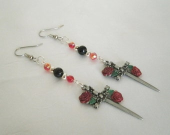 Rose And Dagger Earrings, gothic jewelry victorian jewelry medieval jewelry renaissance edwardian goth steampunk pirate gothic earrings