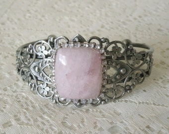 Rose Quartz Cuff Bracelet, victorian jewelry art deco jewelry edwardian jewelry art nouveau renaissance medieval neo victorian bracelet