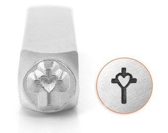 Cross and Heart Metal Stamp-Design Stamp-ImpressArt- 6mm Jewelry or Leather Tool-Steel Stamps-Metal Stamping Tool-Metal Supply Chick