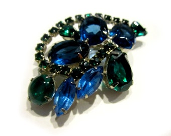 "Vintage Green Blue Rhinestone Brooch Vintage Pin 2 1/2"" Large Gift for Her Gift for Mom Gift Idea Under 50"