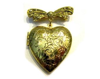 Vintage Gold Locket Brooch Large Heart Gift Idea Heart Jewelry Under 20 Heart Pin Brooch Scroll Gold Jewelry for Mom