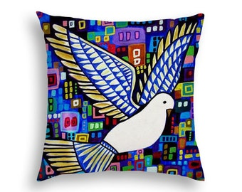 Dove Bird Lovers Pillow Bird Garden Flower Floral Art Pillow -  -  Throw Pillow - Folk Art by Heather Galler