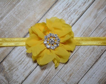 CLEARANCE/ Yellow Chiffon Flower Headband/ Yellow Baby Headband/ Girls Hair Accessories/ Baby Hair Accessories/ Sale Headband/ Yellow