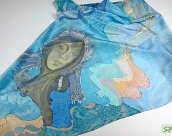 Unique hand painted silk scarf square gift for women, Goddess Rain, Blue scarf, Batik, Gift Wife Mom Girlfriend, Wearable art
