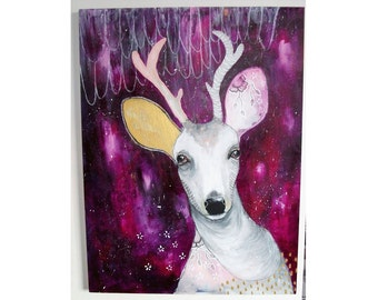 Original deer painting whimsical boho mixed media art on wood panel 18x24 inches - A believer of magic