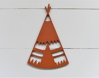 Teepee Wood Cut Out Sign outdoors nature boys family play room nursery kids decor