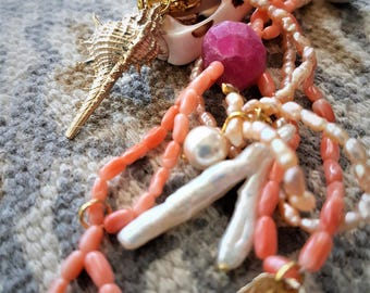 Red Coral necklace,pink pearl and druzy ruby