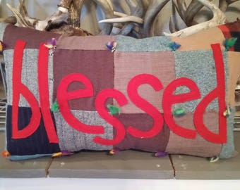 Vintage wool quilt with blessed accent pillow