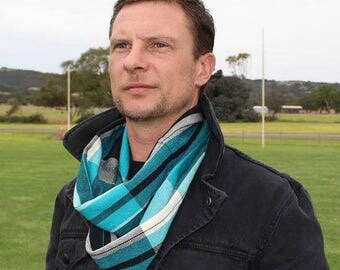 Handwoven Cotton Loop Football Scarf - Port Adelaide
