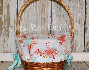 Easter Basket Liner - Coral and Aqua Floral - Comes Personalized
