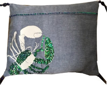 Handmade Nautical Linen Sequinned Lobster Cushion Cover