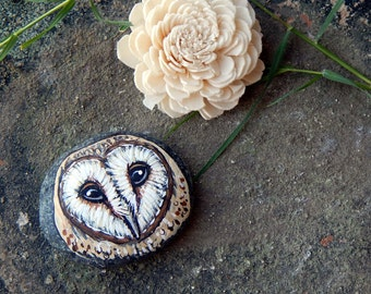 Hand Painted BARN OWL Totem Stones OWLS Rock Art Owl Medicine Forest Animals Spirit Guide Artwork Altar Tools Nature Paintings Tyto Alba