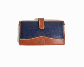 Vintage Maple Leaf Wallet in Navy Blue & Brown Leather / Leather Wallet