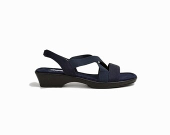 Vintage 90s Navy Blue Elastic Strap Sandals / Navy Sandals - women's size 8
