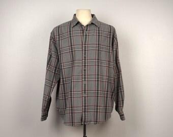 XL 54 chest Vintage LL Bean Plaid Shirt Long Sleeves Button Up green tan red check Shirt Ferrante California 15.5 32-33