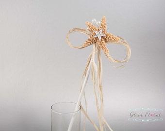 Starfish & Raffia Wand. Flowergirl Wand Beach Wedding, orange sugar starfish, raffia, rhinestones crystals flower girl junior bridesmaid