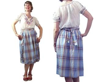 Vintage 1940's Plaid Wrap Skirt