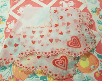 sweet red hearts and scallops hanky