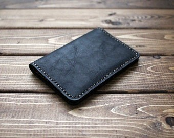 Minimalist Slim Wallet, Card Holder in Vintage Washing  Italian Genuine BLACK Leather