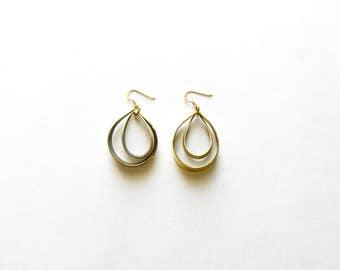 Modern Hoop Gold Earrings-Gold Dangle Earrings-Hoop Earrings Gold-Oxidized Earrings-Handmade Earrings-Modern Jewellery