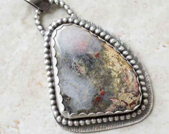 Moss Agate Pendant with Red Yellow Green in Sterling Silver Handcrafted