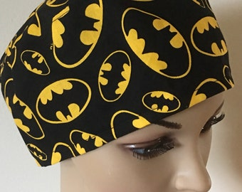Batman scrub hat - surgical hat - surgical cap - welding cap- motor cycle cap - medical scrub hat - OR surgery hat.